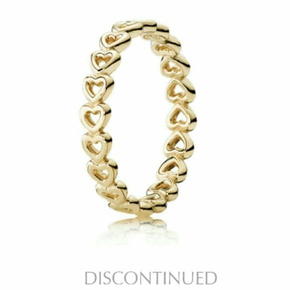 Pandora Jewelry Pandora 4k Yellow Gold Heart Band Ring Retired Poshmark
